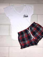 Load image into Gallery viewer, Bridal pyjamas- Personalised cotton pajamas with red and navy checkered shorts - Robes 4 You