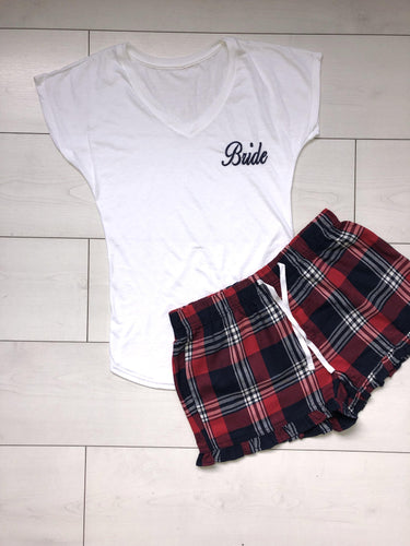 Bridal pyjamas- Personalised cotton pajamas with red and navy checkered shorts - Robes 4 You