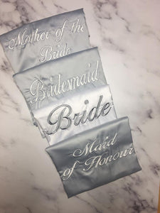 Personalised Bridal robes- Grey and white embroidered satin robes - Robes 4 You