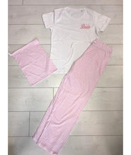 Load image into Gallery viewer, Bridal pink and white Stripey personalised Pyjamas - Robes 4 You