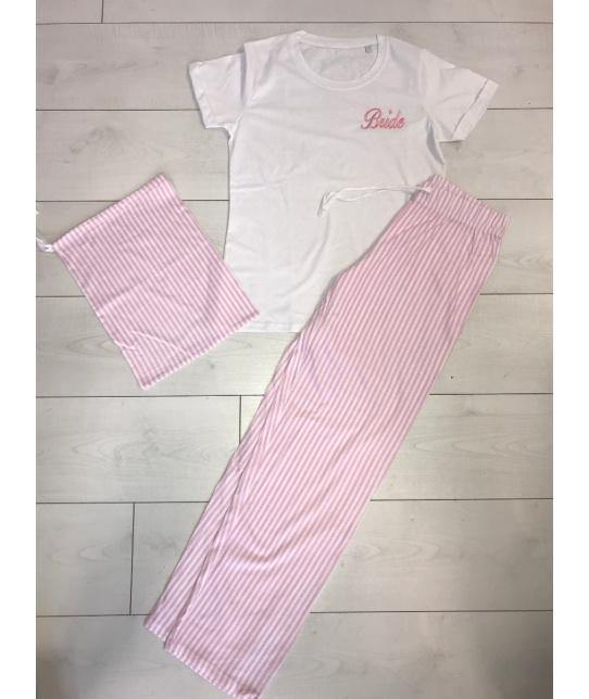 Bridal pink and white Stripey personalised Pyjamas - Robes 4 You