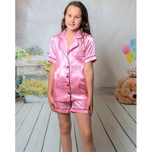 Beautiful Childrens Satin Pink short pjs sets