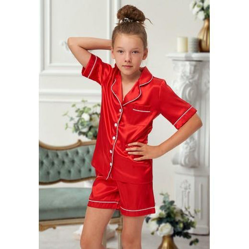 Childrens Christmas Red Satin pjs