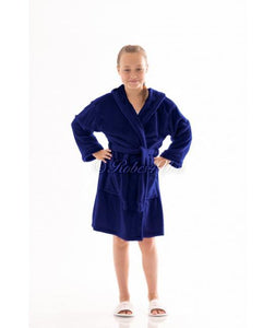 Children's Personalised Navy Hooded Robe - Robes 4 You