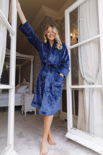 Luxurious Navy fluffy dressing gown -Robes4you
