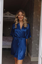 Load image into Gallery viewer, Navy silk robe -Robes4you