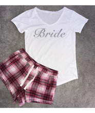 Load image into Gallery viewer, Personalised Short Pyjamas wth Silver Glitter with Plaid Bottoms - Robes 4 You