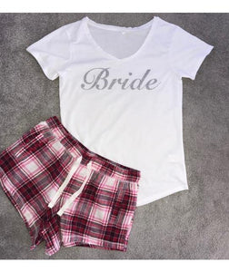 Personalised Short Pyjamas wth Silver Glitter with Plaid Bottoms - Robes 4 You