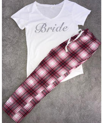 Personalised Pyjamas wth Silver Glitter with Plaid Bottoms - Robes 4 You