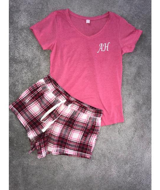 Personalised Pink Pyjamas with Short Plaid Bottoms - Robes 4 You