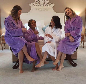 Luxury White & purple Robes Embroidered in baby Pink - Robes 4 You