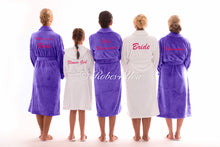 Load image into Gallery viewer, Luxury White & purple Robes Embroidered in baby Pink - Robes 4 You