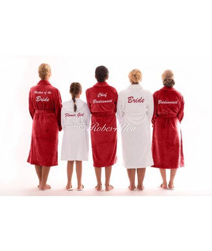 Luxury Red & White Fluffy Bridal Robes - Robes 4 You