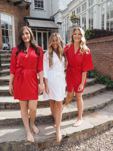 Red Bridesmaid silk robes -Robes4you