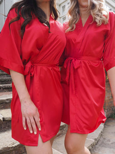 Red satin dressing gowns -Robes4you
