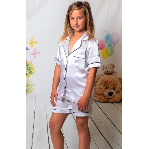 Short satin Communion or  Confirmation  Pjs with floral wreath