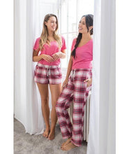Load image into Gallery viewer, Personalised Pink Pyjamas with Short Plaid Bottoms - Robes 4 You
