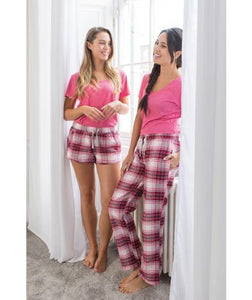 Personalised Pink Pyjamas with Plaid Bottoms - Robes 4 You