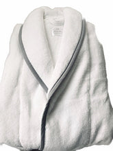 Load image into Gallery viewer, Soft Luxurious Turkish Cotton Towelling unisex Robe with Grey trim