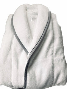 Soft Luxurious Turkish Cotton Towelling unisex Robe with Grey trim