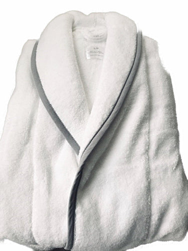Mens Soft Luxurious Turkish Cotton Towelling  Robe with Grey trim