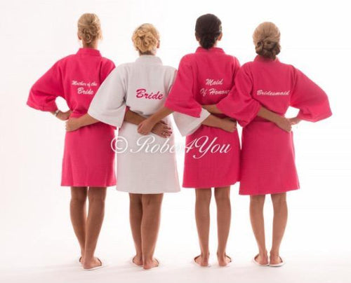 Bridal whie and pink waffle robes -robes4you