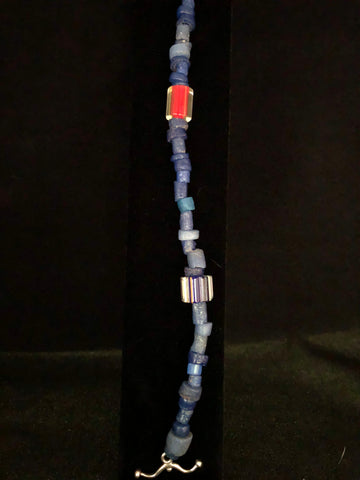 EGYPTIAN BLUE BEADS WITH MURANO GLASS BEADS