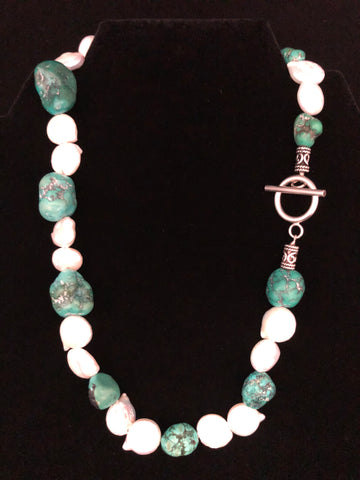 TURQUOISE NUGGETS WITH COIN PEARLS