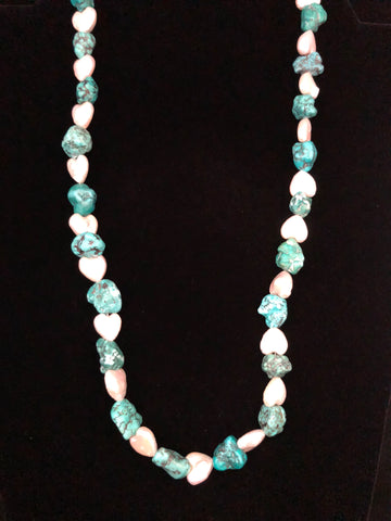 HEART SHAPED PEARLS WITH TURQUOISE NUGGETS