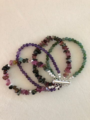 WATERMELON TOURMALINE, JADE AND AMETHYST WITH STARDUST BEADS