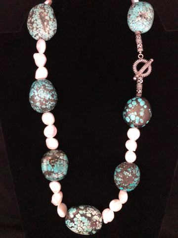 LARGE FLAT TURQUOISE NUGGETS WITH COIN PEARLS