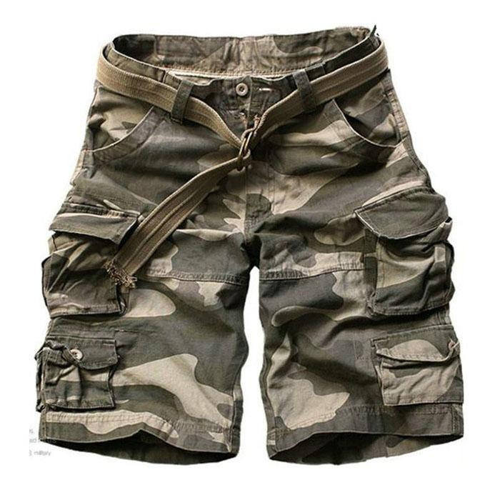 5077f9bbdc Casual Multi-pocket Sport Outdoor Mens Cargo Shorts - KINGEOUS