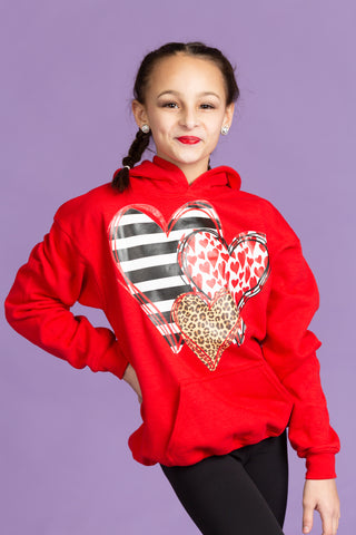 Three Hearts Valentine's Day Hoodie