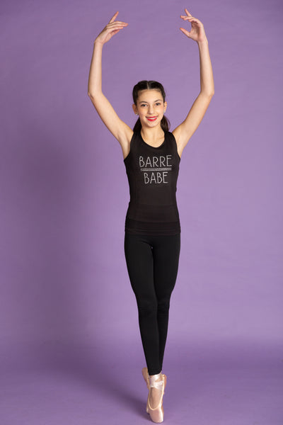 Rhinestone Barre Babe Black Stretch Tank Top