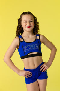 Peek-a-boo Dance Sports Bra in Blue