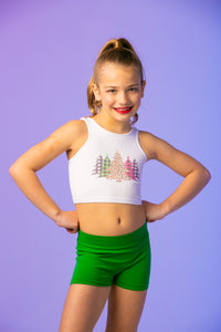Christmas Trees Kids Crop Top