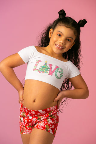 Christmas Love Kids Crop Top