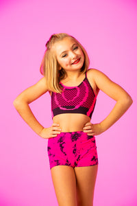 Kids Fishnet Cami Pink/Black Tie-dye Cami Top