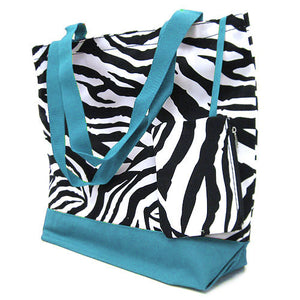 Zebra Small tote Bag - Turquoise