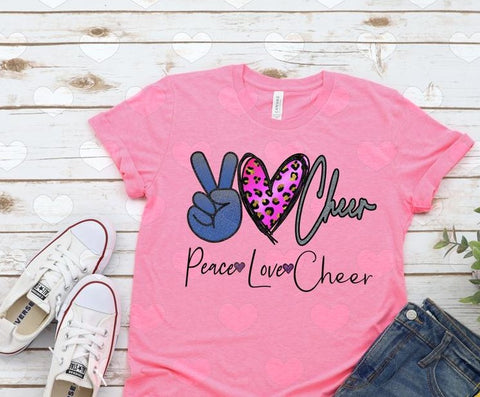 Peace, Love, Cheer Pink Short Sleeve Cotton Shirt