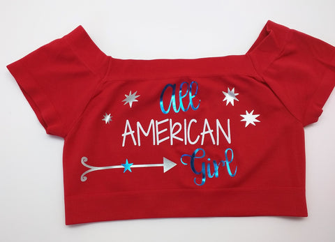 All American Girl - Red Crop Top