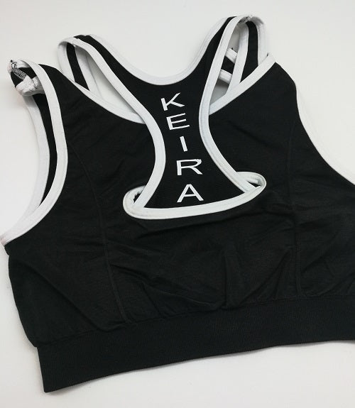 """Double Up"" Sports Bra - Black/White"