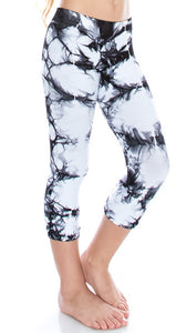 Kids Black & White Tie-Dye Capri Leggings
