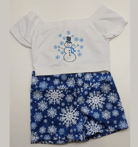 Blue Snowman Crop Top & Shorts set