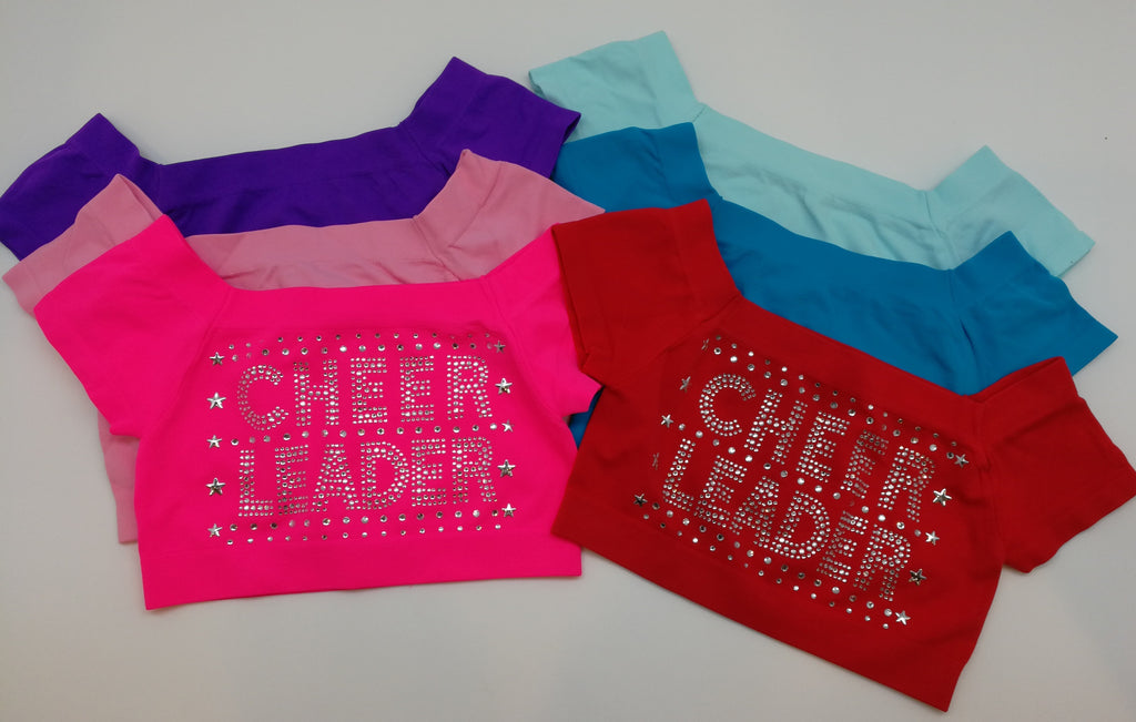 "Multi Color Rhinestone ""Cheer Leader"" crop top"