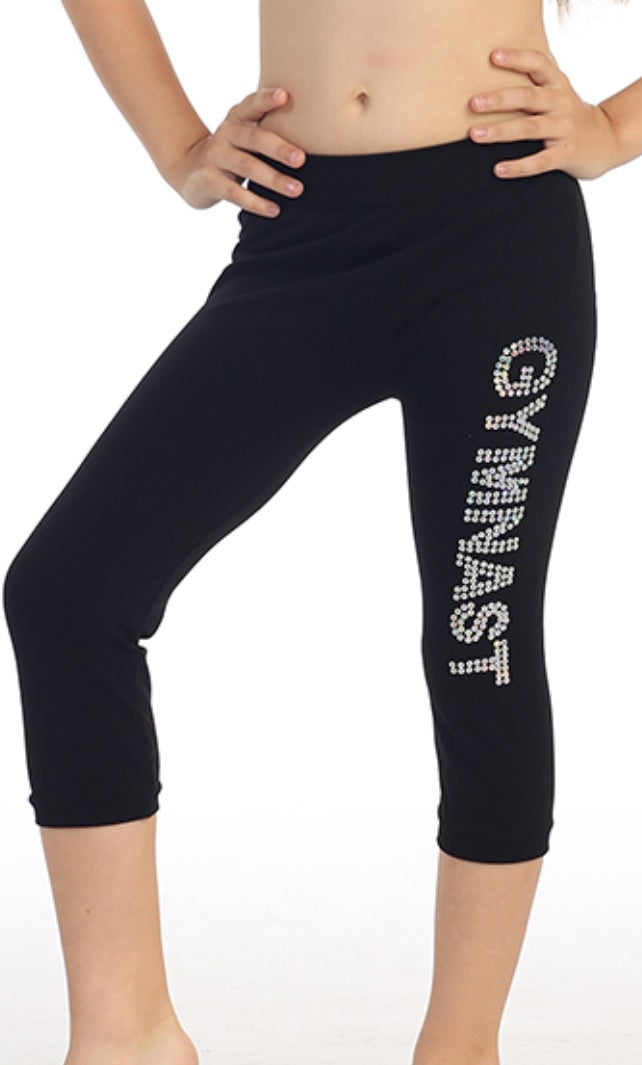 "Kids ""Gymnast"" Sequin Calf Leggings - Black"