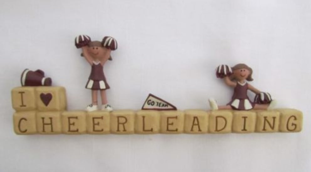 """I love cheerleading"" Block Figurine"