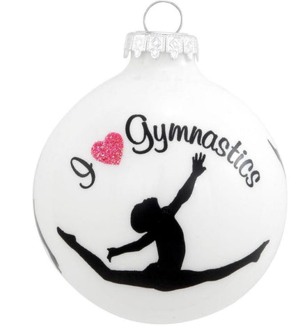 "I 'heart"" Gymnastics Glass Ball Ornament"
