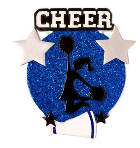 Jumping Cheerleader Silhouette Ornament - Blue