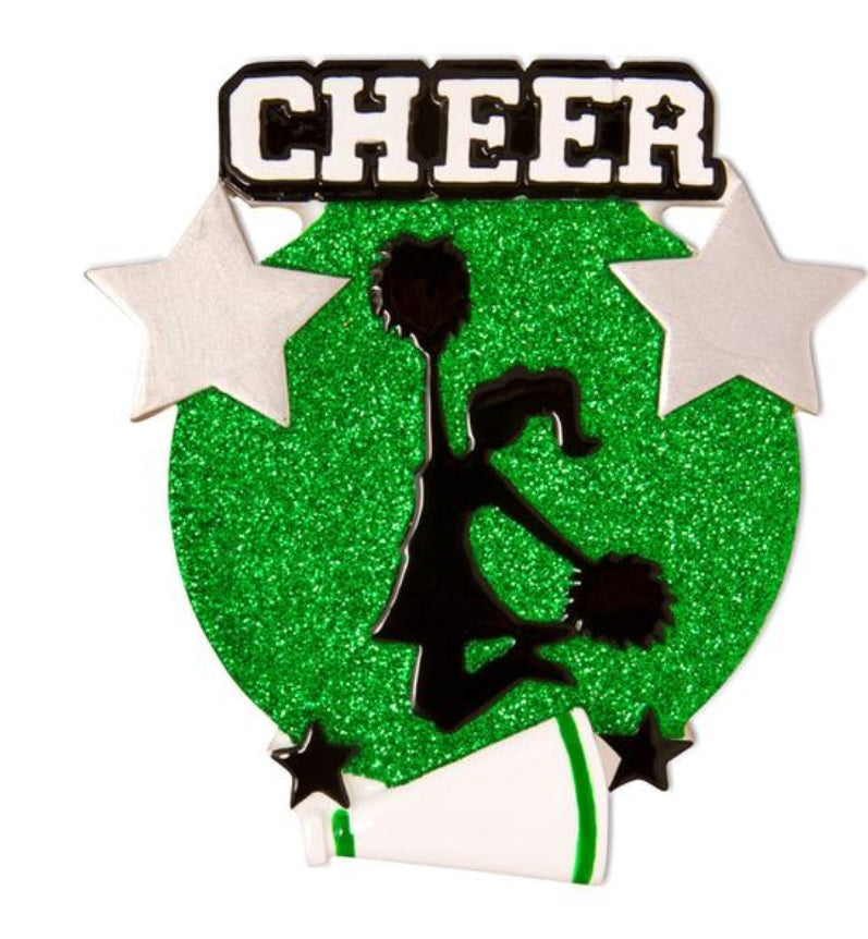 Jumping Cheerleader Silhouette Ornament - Green